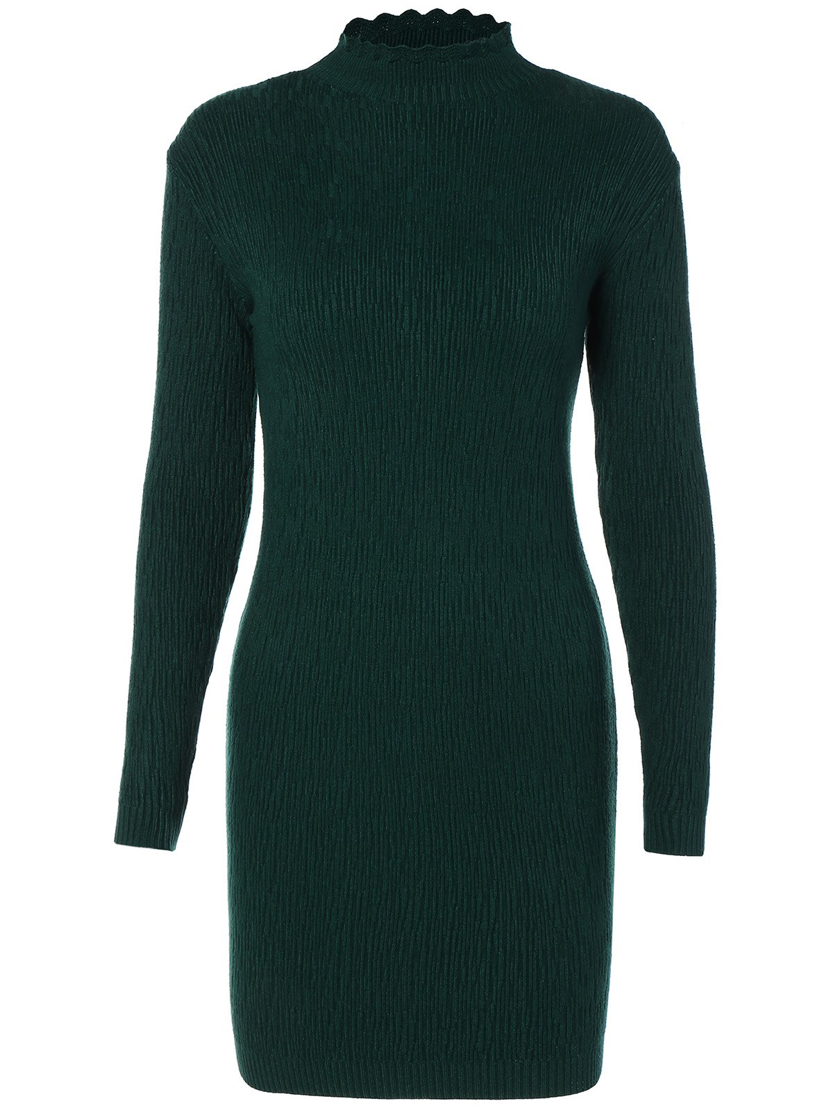 5489f28b48 Ruffle Long Sleeve Fitted Sweater Dress - One Size