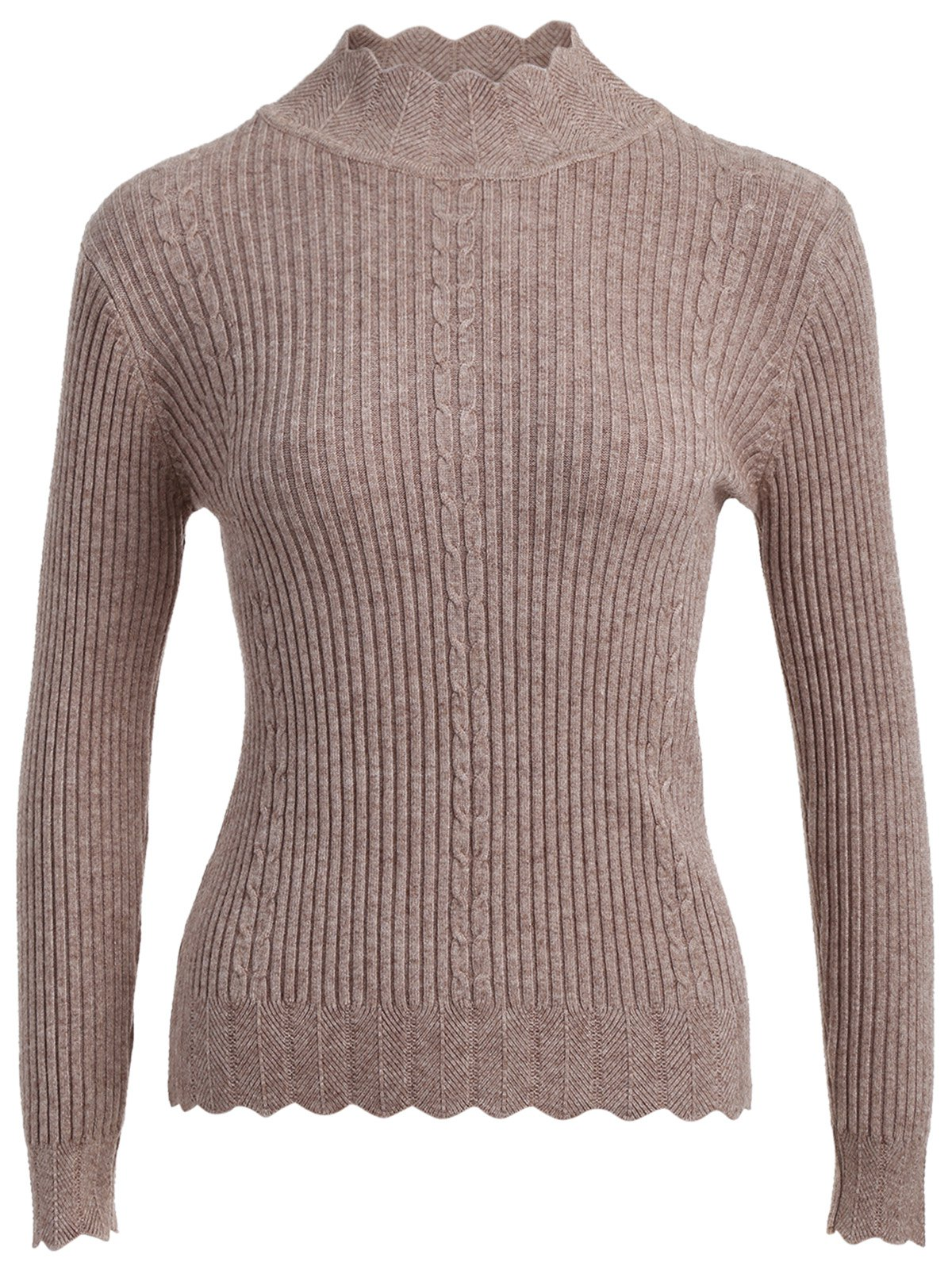 Shops Drop Shoulder Scalloped Ribbed Sweater