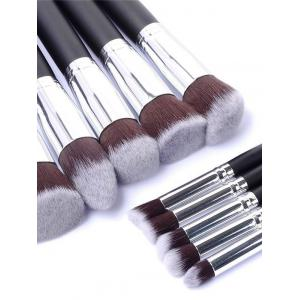 10 Pcs Makeup Brushes Set + Makeup Sponge + Brush Egg - BLACK