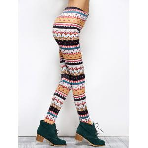 Tight Christmas Print Leggings - COLORMIX XL