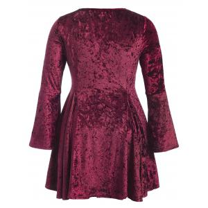 Bell Sleeve Velvet Fit and Flare Cocktail Dress - BURGUNDY 3XL
