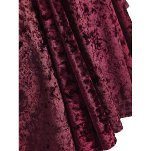 Bell Sleeve Velvet Fit and Flare Short Cocktail Dress - BURGUNDY 3XL