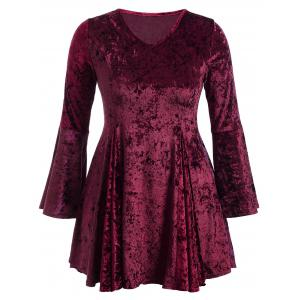 Bell Sleeve Velvet Fit and Flare Short Cocktail Dress - Burgundy - 2xl