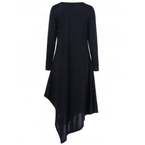 Asymmetrical V Neck Long Sleeved Maxi Casual Dress - BLACK 3XL