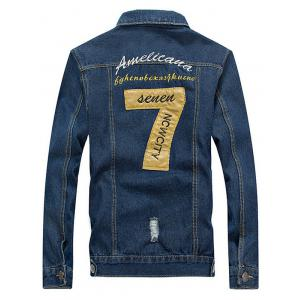 Embroidered Design Jean Jacket - BLUE 4XL