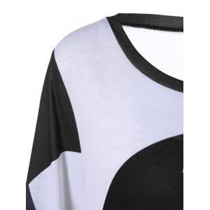 Plus Size Abstract Print Asymmetrical T-Shirt - WHITE/BLACK 5XL