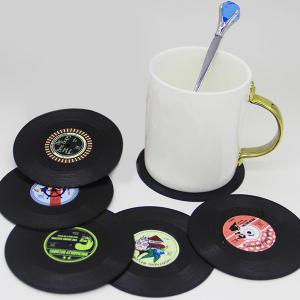 6 Pcs/ Set Retro CD Record Shapes Heat Insulation Cup Mat - Black
