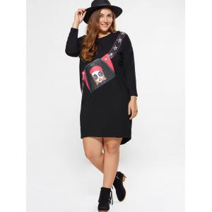 Plus Size Girl Graphic Long Sleeve Tee Dress -