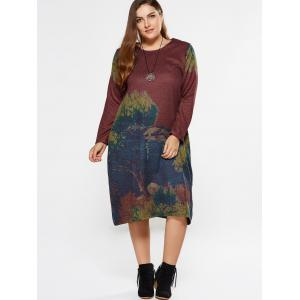 Plus Size Painting Long Sleeve Dress With Pocket -