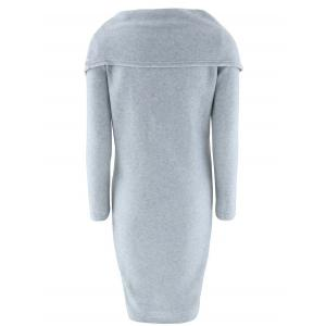 Fitted Cowl Neck Knee Length Capelet Dress - GRAY XL