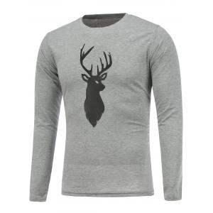 Deer Print Crew Neck Christmas T-Shirt