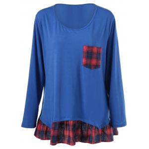 Plus Size Plaid Flounced T-Shirt - Blue - Xl