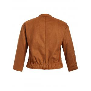 Plus Size Button Up Suede Jacket - TAN 3XL