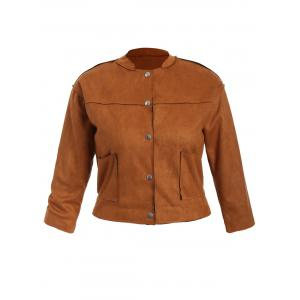 Plus Size Button Up Suede Jacket - Tan - 3xl