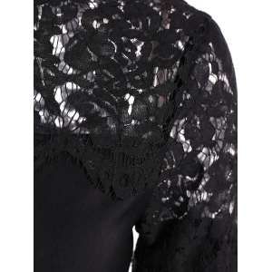 Loose Cut Out Lace Spliced Blouse -