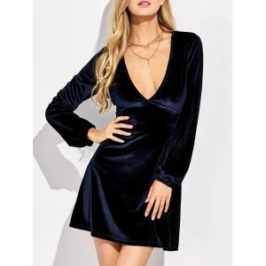 Empire Waist Velvet Long Sleeve Plunge Cocktail Dress - Purplish Blue - S