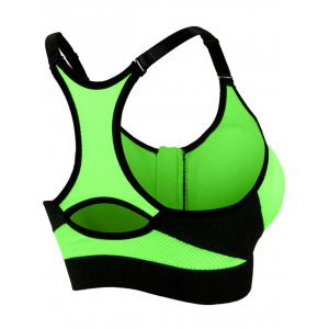 Zipper Front Strappy Racerback Sports Bra - NEON GREEN S