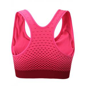Zipper Front Contrast Racerback Yoga Push Up Sports Bra - LIGHT RED M