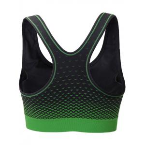 Zipper Front Contrast Racerback Yoga Push Up Sports Bra - BLACK AND GREEN S