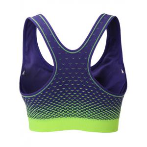 Zipper Front Contrast Racerback Yoga Push Up Sports Bra - AMETHYST S