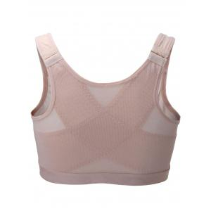 Front Close Hook Up Mesh Genie Sports Bra - APRICOT M