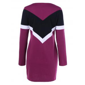 Long Sleeve Color Block T Shirt Dress -