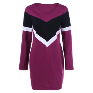 Long Sleeve Color Block T Shirt Dress - Red Lilac - Xl