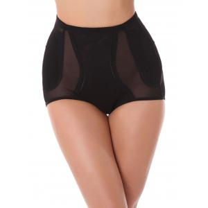 High Waist See Thru Cut Out Panties - Black - 2xl