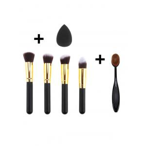 5 Pcs Fiber Makeup Brushes Set and Makeup Sponge - BLACK