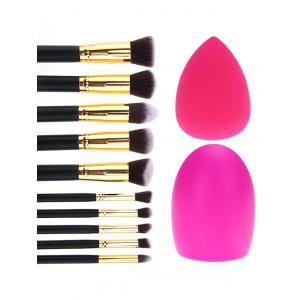 10 Pcs Makeup Brushes Set + Brush Egg + Makeup Sponge