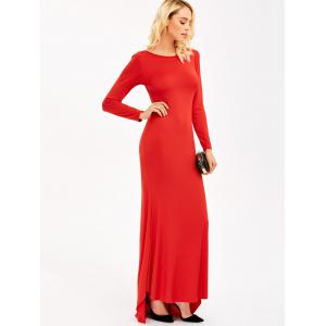 Backless Maxi Formal Long Sleeve Jersey Evening Dress - RED L