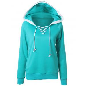 Lace Up Raglan Sleeve Two Tone Hoodie - Green - L