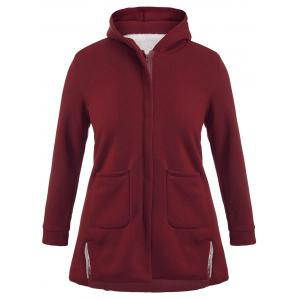 Double Pocket A Line Hooded Coat - Claret - 3xl