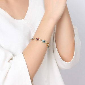 Color Eye Hamsa Hand Bracelet - GOLDEN