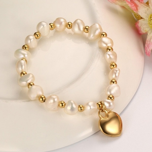 Polished Heart Faux Pearl Charm Bracelet - GOLDEN