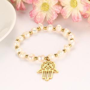 Faux Pearl Hollow Hand Charm Bracelet - GOLDEN