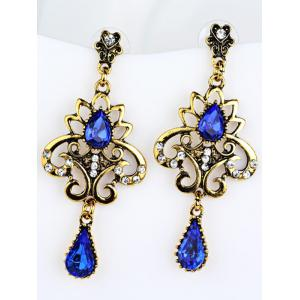 Water Drop Fake Gem Hollowed Earrings -