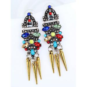 Fake Crystal Embellished Rivet Tassel Earrings -