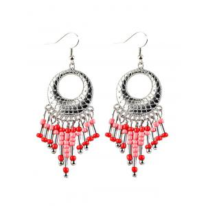 Beads Tassel Snakeskin Round Drop Earrings - Red - 2xl