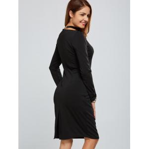 Zippered Long Sleeve Bodycon Dress With Belt -
