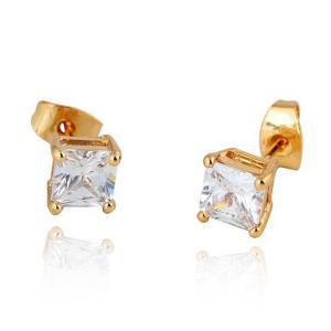 Square Rhinestone Stud Earrings - Golden