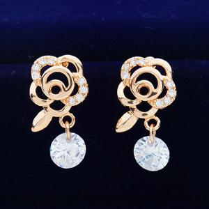 Floral Shape Rhinestone Earrings - GOLDEN
