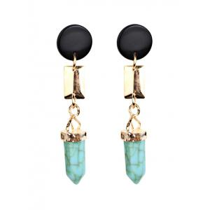 Bohemia Geometric Faux Turquoise Dangle Earrings - Light Green