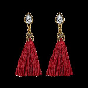 Rhinestone Water Drop Tassel Earrings - Red