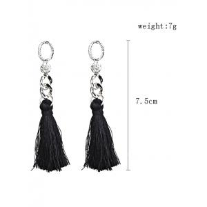 Statement Rhinestone Tassel Dangle Earrings -