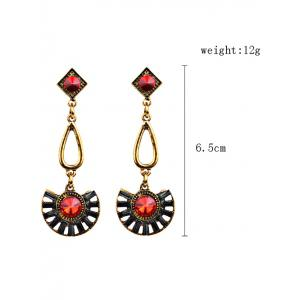 Bohemian Rhinestone Geometric Dangle Earrings -
