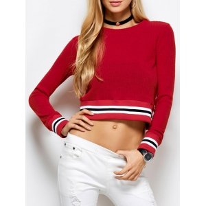 Knitted Cropped Sweater - Red - M