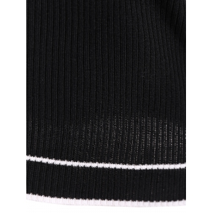Pullover Ribbed Striped Knitwear - BLACK ONE SIZE