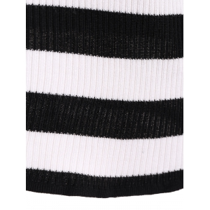 Ribbed  Striped Beads Knitwear - BLACK ONE SIZE