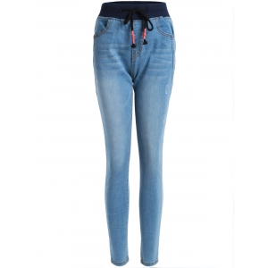 Drawstring Frayed Pencil Jeans - Denim Blue - M